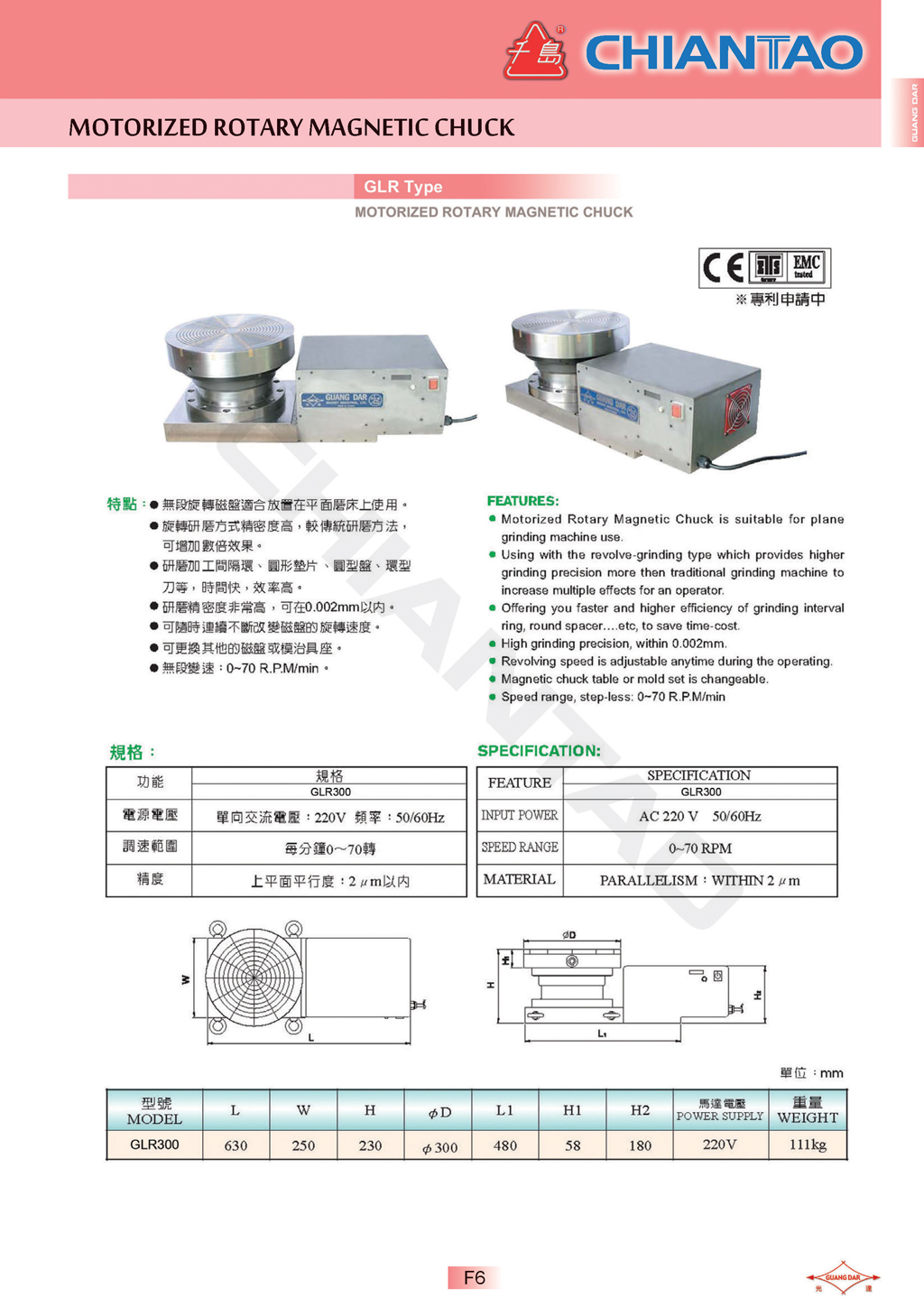 Page: F5 · GLR Type Motorized rotary magnetic chuck